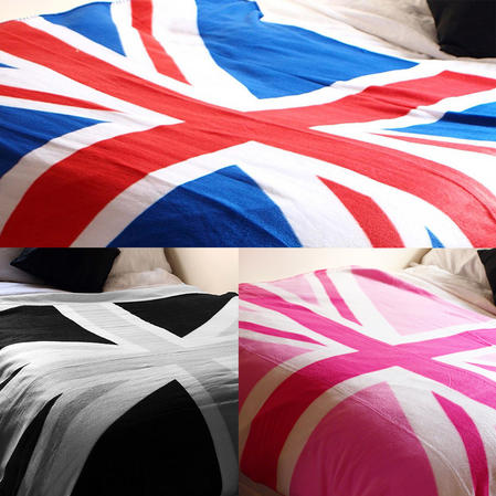 British Union Jack Flag Design Fleece Sofa Bed Picnic Throw Blanket - 3 Colours