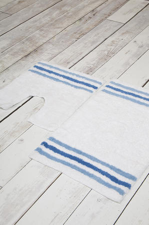 100% Cotton Anti Slip 2 Piece Bath Mat and Pedestal Set with Stripes Thumbnail 1