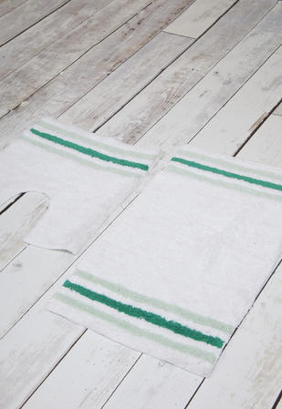 100% Cotton Anti Slip 2 Piece Bath Mat and Pedestal Set with Stripes Thumbnail 2