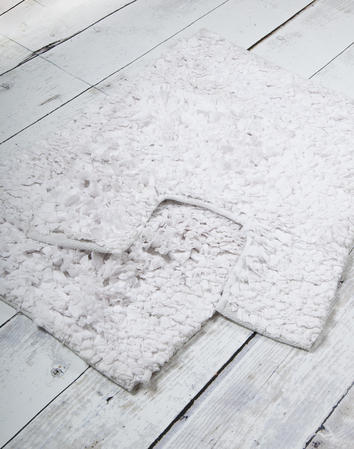 Anti Slip Poppy Shaggy Flower  Cotton Blend 2 Piece Bath Mat and Pedestal Set Thumbnail 3