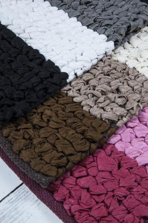 Anti Slip Cotton Blend Button Loop Stripped 50cm x 80cm Bath Mats