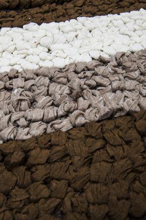 Anti Slip Cotton Blend Button Loop Stripped 50cm x 80cm Bath Mats Thumbnail 2