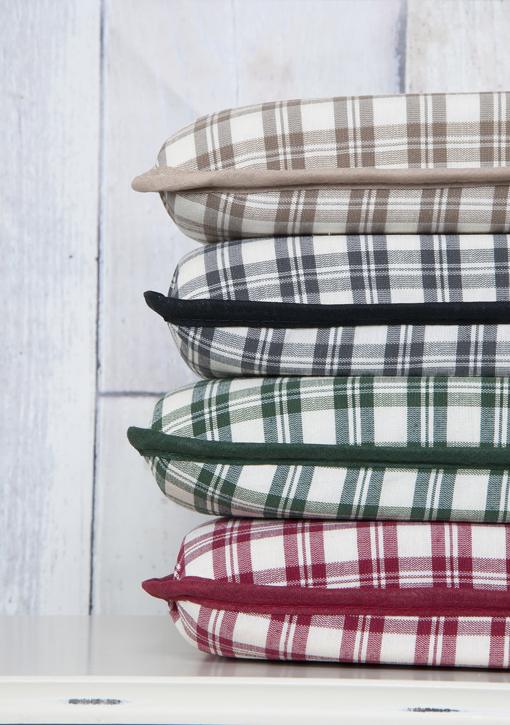 Classic Foam Stripe Check Tartan Printed Chair Seat Pads in Vibrant Colours