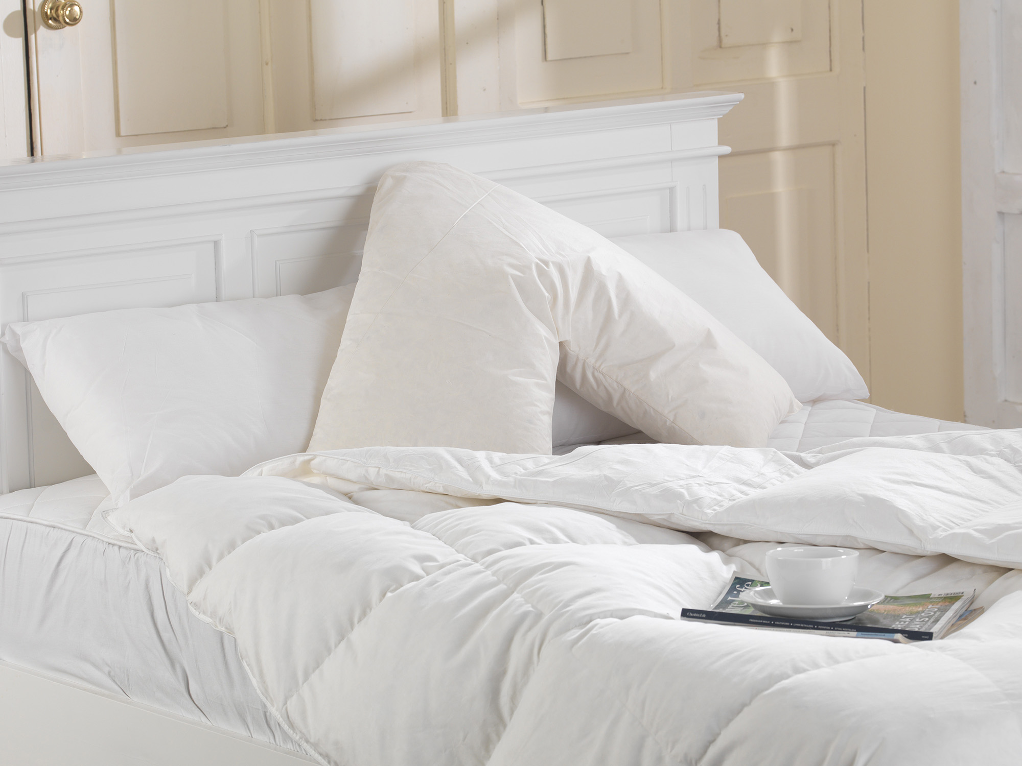 v shaped duck feather filled back support- reading pillow with