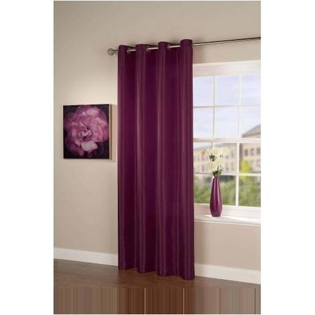 Passionate Faux Silk Eyelet Curtain/Panel in Mulberry Purple Thumbnail 1