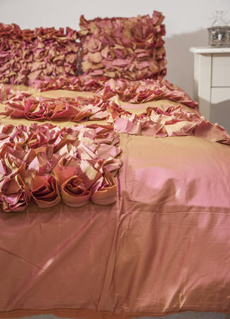 Faux Silk Satin Ruffle Poppy Flower Single Duvet Covers and Accessories