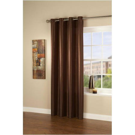 Passionate Faux Silk Polyester Single Eyelet Curtain/Panel in Toffee Brown Thumbnail 2