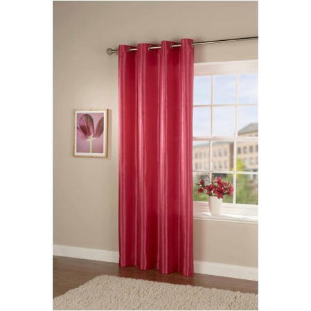 Passionate Faux Silk Eyelet Curtain/Panel in Fuchsia Pink Thumbnail 1