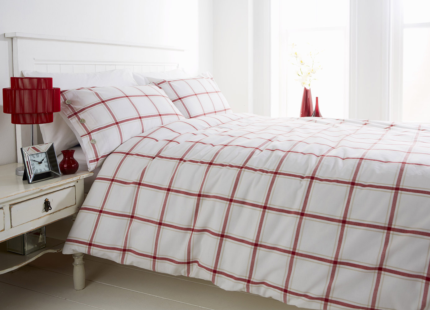 Red Check 100% Cotton Yarn Bridgeport Duvet Set in Super-King