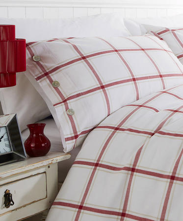 Red Check 100% Cotton Yarn Bridgeport Duvet Set in Super-King Thumbnail 2