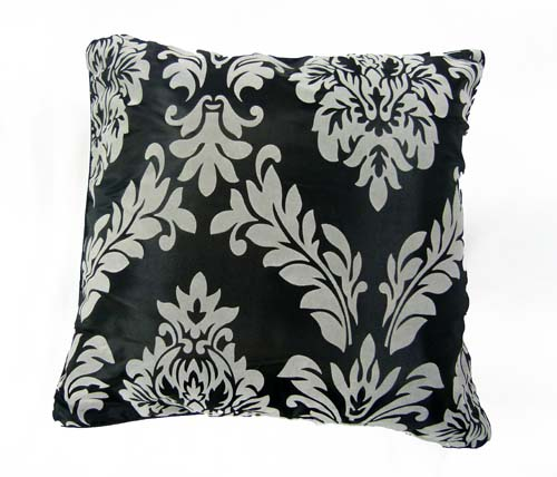 Taffeta Flocking Black/Grey 17''x17'' (43cm) Cushion