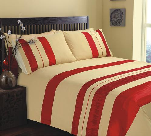 Stripe Embroidered Vibrant Bright Seattle Bedding Duvet Set in 2 Colours Thumbnail 1