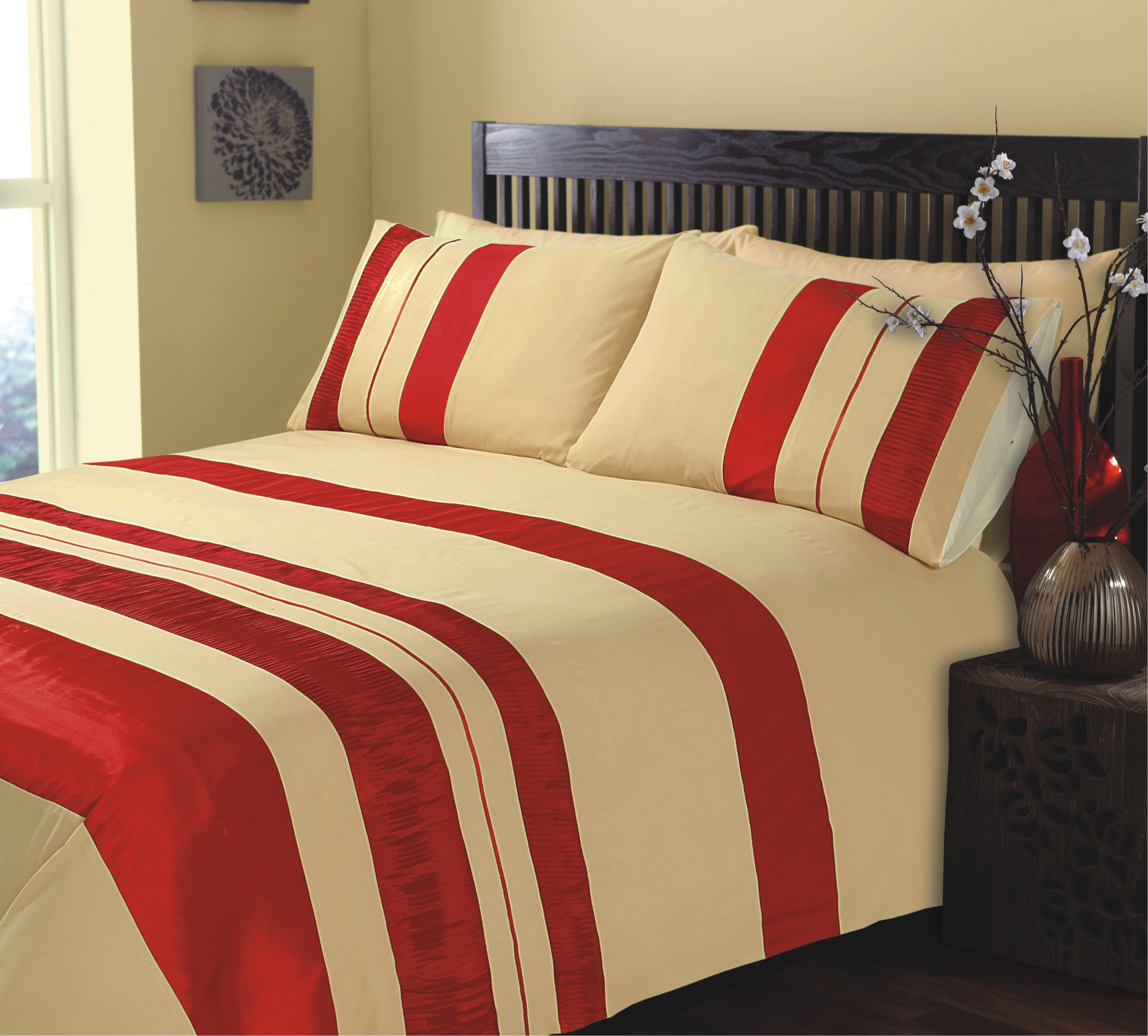 King Size Ripple And Plain Stripe Red And Gold Duvet Cover Bedding