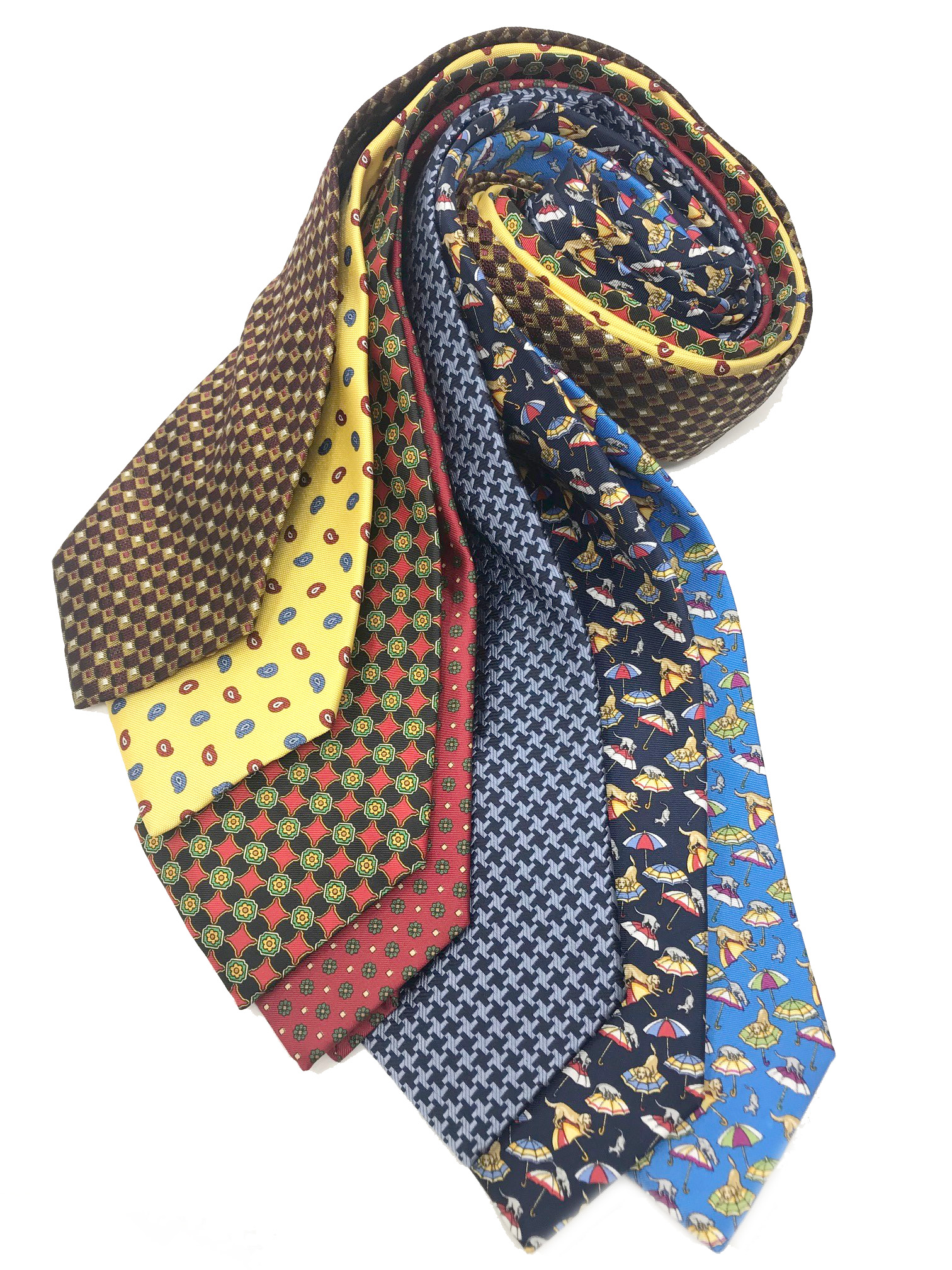 Cavenagh of London 7Piece 100% Pure Silk Ties Made in UK (723D)RRP£139.99