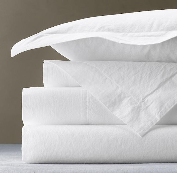 Cotton Rich Percale Flat Sheets in White