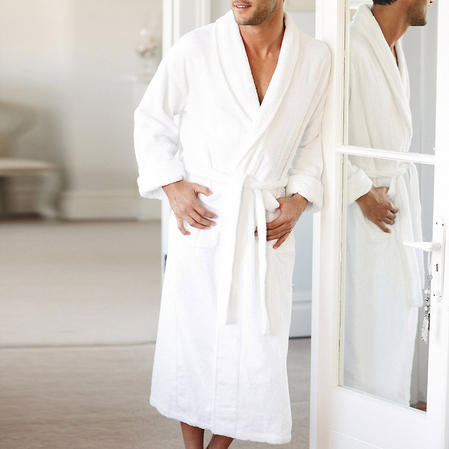 Large 100% Cotton Terry Towelling Unisex Bath Robe in White Thumbnail 1
