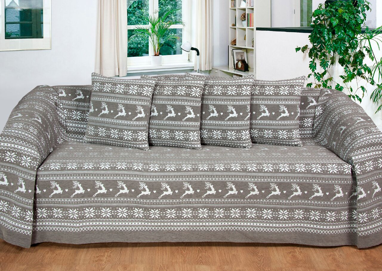 Delightful Vintage Heavyweight Nordic Reindeer Throw/Blanket In Smoke Grey