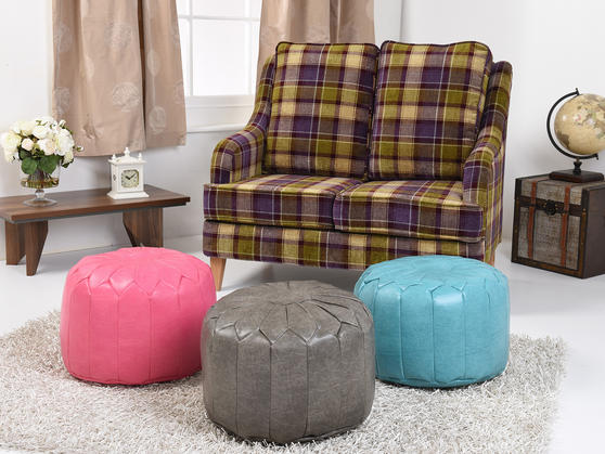 Faux Leather Moroccan Bean Bag/Pouffe in Various Colours