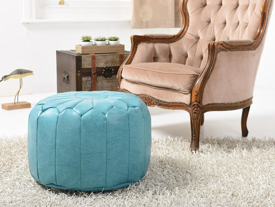 Faux Leather Moroccan Bean Bag/Pouffe in Various Colours Thumbnail 2