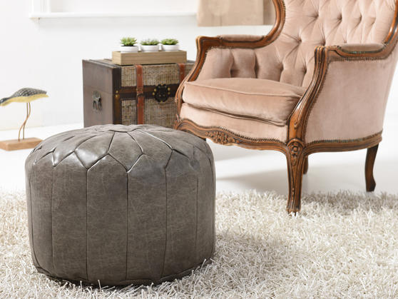 Faux Leather Moroccan Bean Bag/Pouffe in Various Colours Thumbnail 3