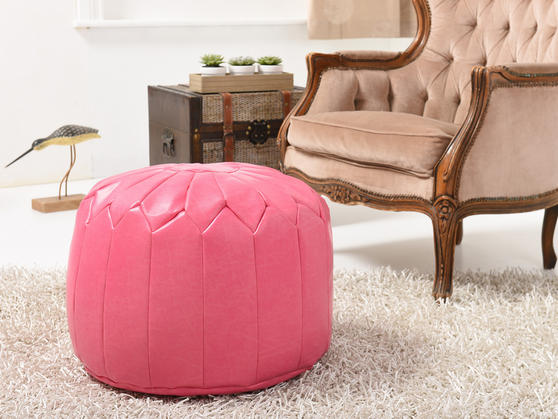 Faux Leather Moroccan Bean Bag/Pouffe in Various Colours Thumbnail 4