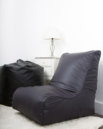 Leather Look Gaming Chair/ Bean Bag in Aubergine Thumbnail 3