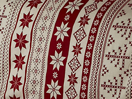 100% Brushed Cotton Flannelette Nordic Print Duvet Set in Red Thumbnail 2
