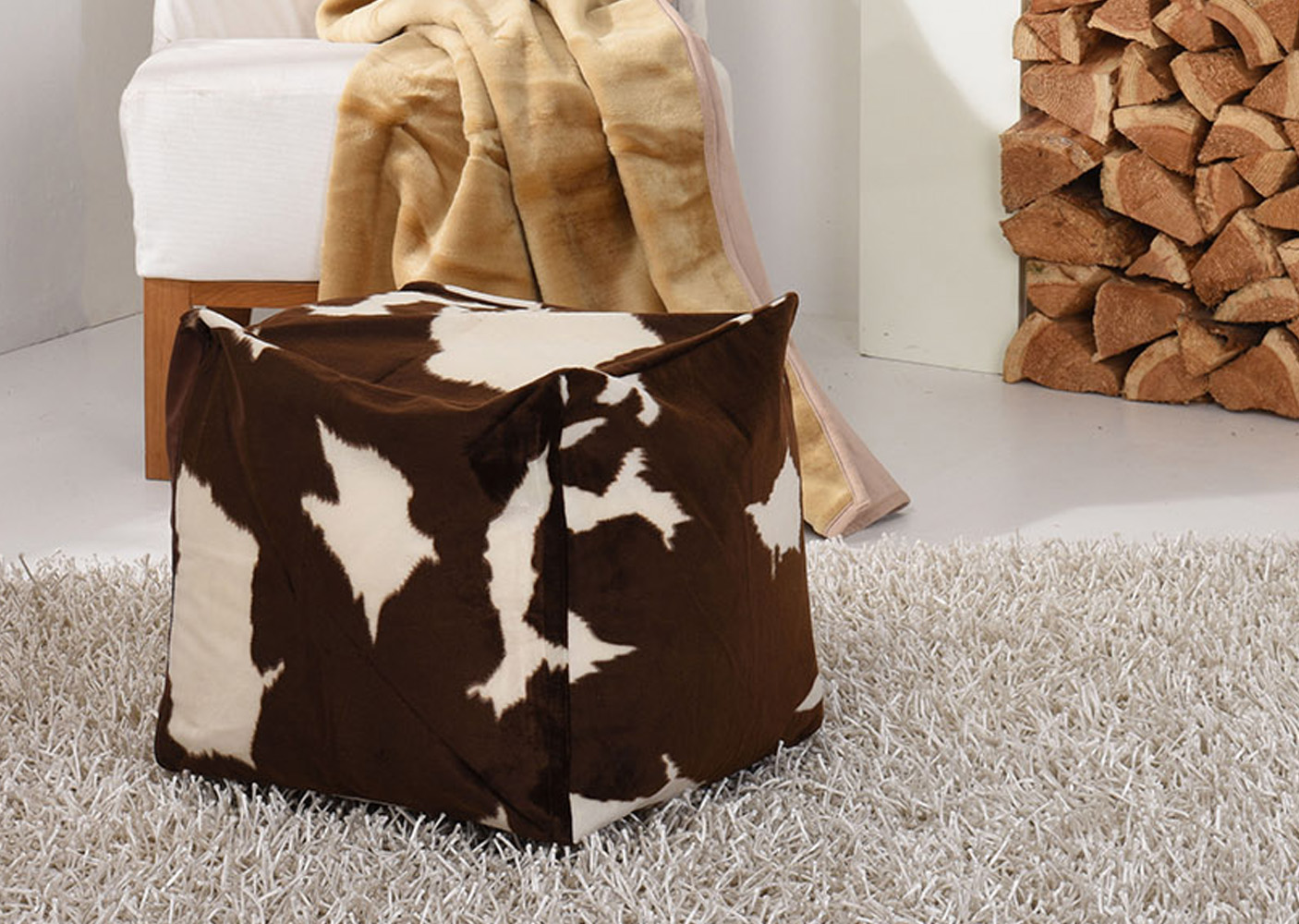 Faux Fur Safari Animal Brown and Cream Bean Bag Cube