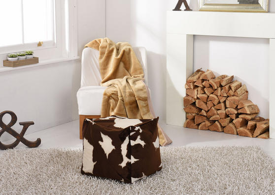 Faux Fur Safari Animal Brown and Cream Bean Bag Cube Thumbnail 1