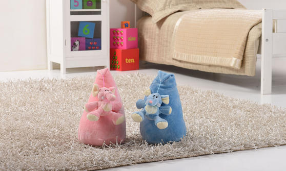 Little Elephant Kids 3 Piece Cushion Pouffe and Door Stop Accessorie Set in Blue Thumbnail 2