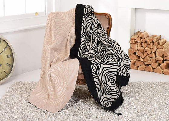 DELUXE Double Layered Rose Floral Embroidered THROW/Blanket Soft Cream Black Thumbnail 1