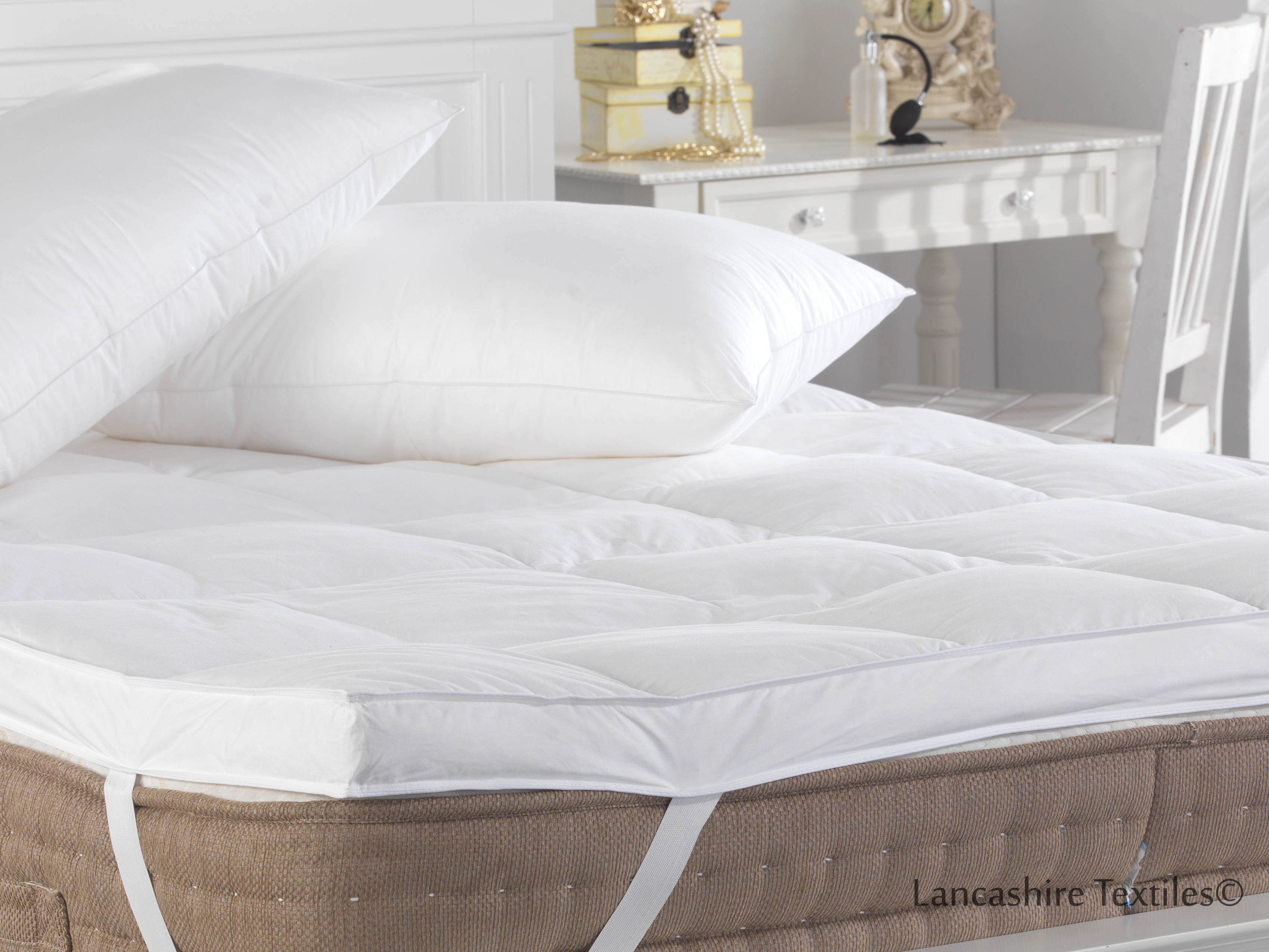thick mattress topper. Extra Thick, 100% Duck Feather Mattress Topper Thumbnail 4 Thick I