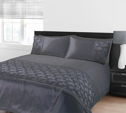 Embellished Sequin Panel Glitz Zara Duvet Bedding Set In Grey