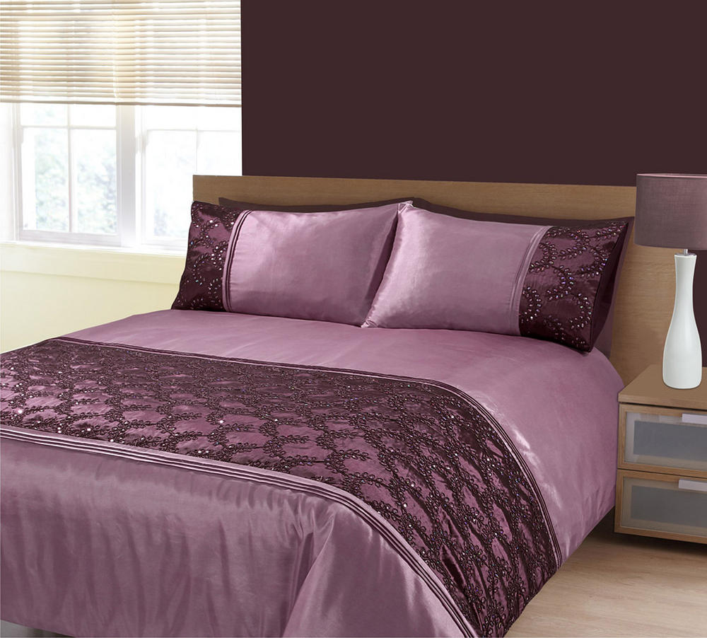 Embellished Sequin Panel Glitz Zara Duvet Bedding Set In Aubergine