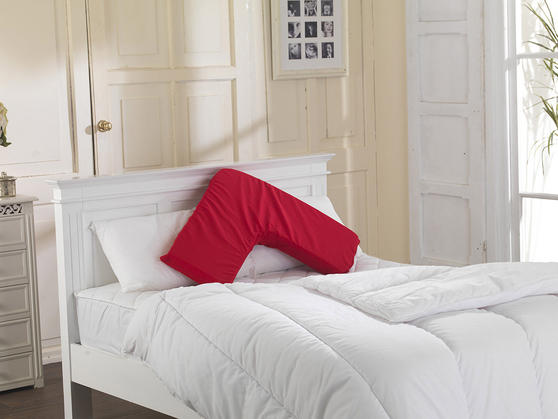 V Shape Memory Firm/ Hard Pillow with FREE 2 Pillowcases Thumbnail 2