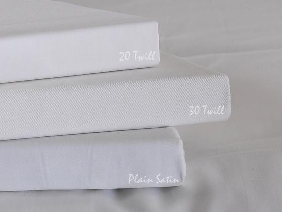 Premium White Linen Range - 20 or 30 Twill Pattern 100% Cotton Fitted Sheets in White Thumbnail 3
