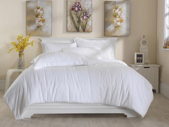 Premium White Linen Range - 300 TC 100% Cotton Solid White Flat Sheets Thumbnail 3