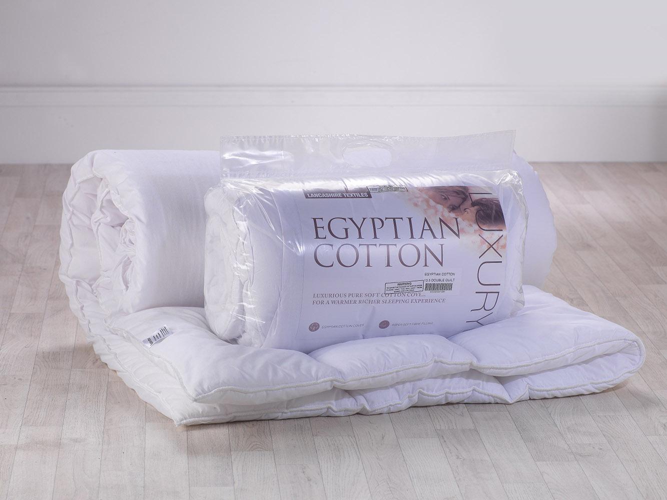 13.5 Tog - Luxury Egyptian Cotton White Hollowfibre Filled Duvet