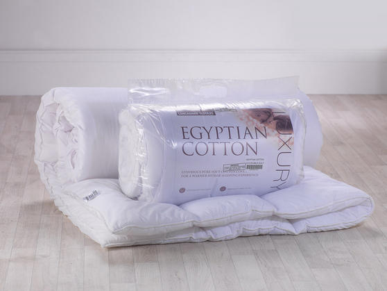 13.5 Tog - Luxury Egyptian Cotton White Hollowfibre Filled Duvet