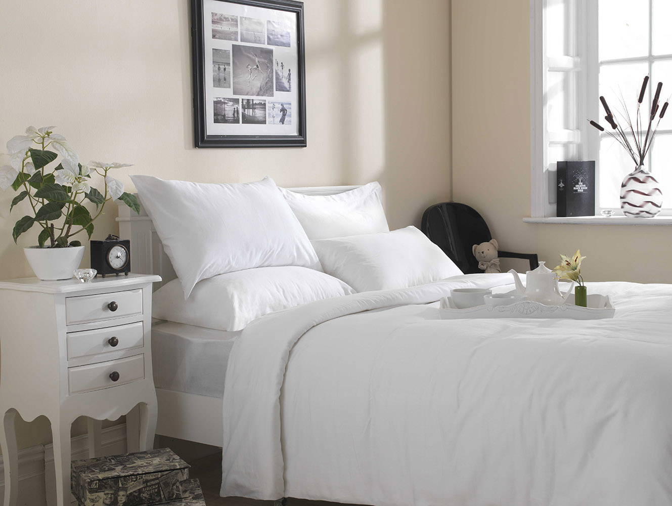 200 TC - 100% Cotton Duvet Set in White