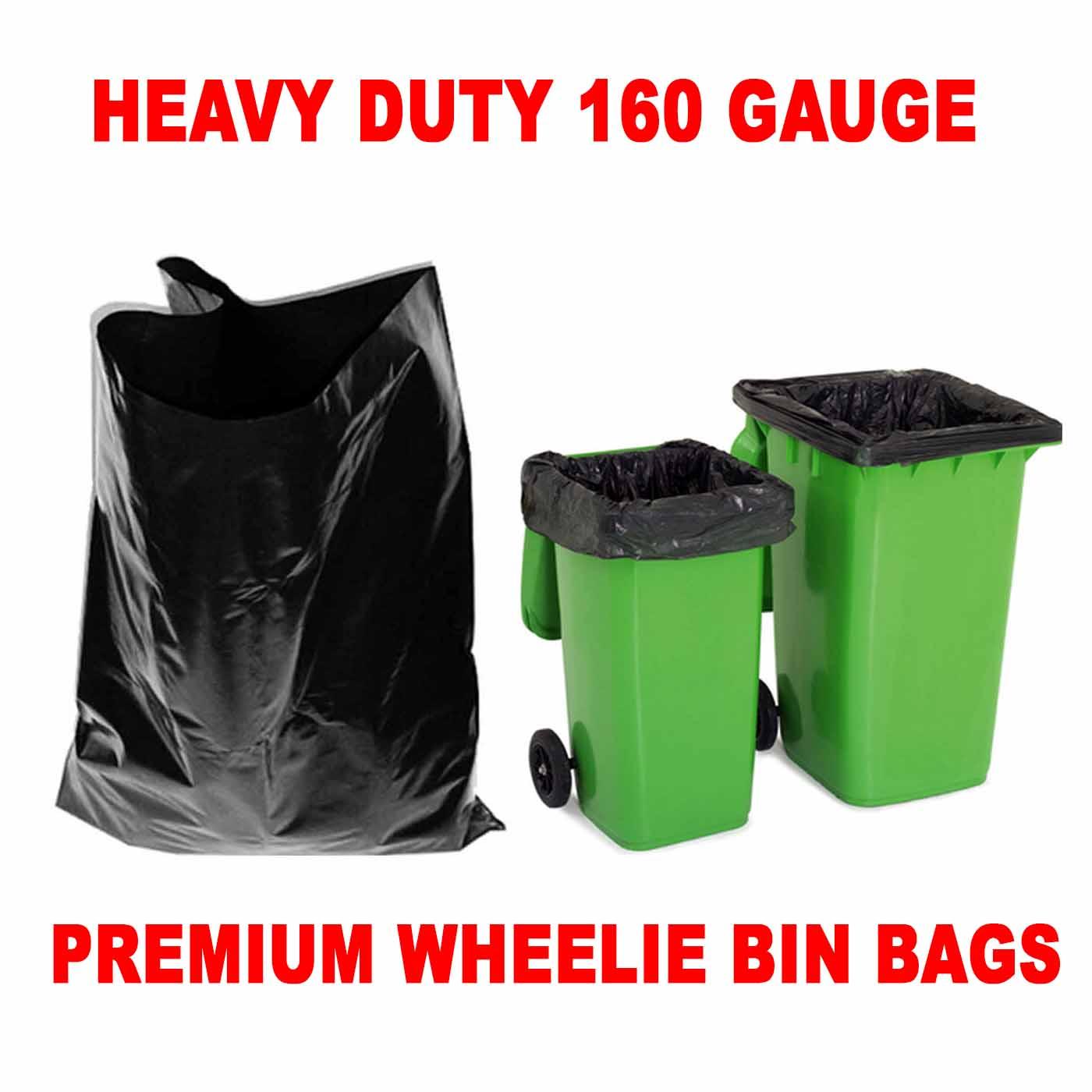 Pack of 100 Industrial Black Wheelie Rubbish Bin Liners