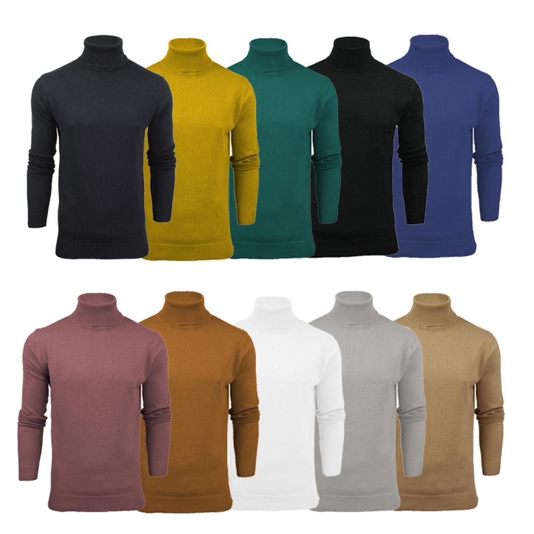 c95292e91ff Details about Mens Jumper Designer Knitted Funnel High Roll Neck Cotton  Jumper Brave Soul XL L