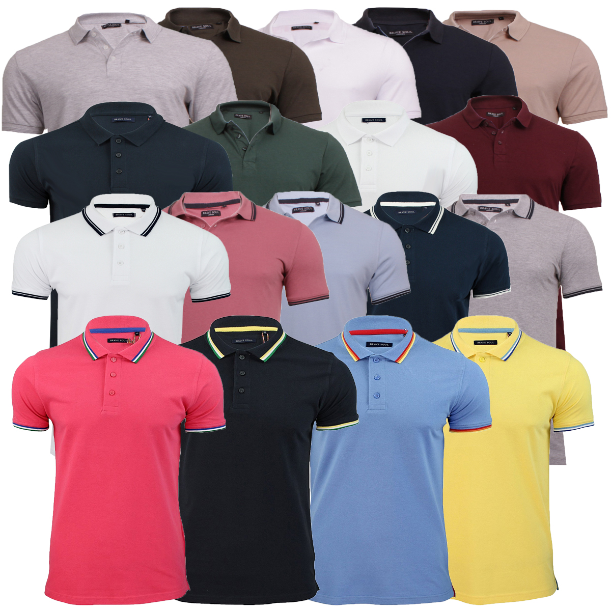 cecaaffb Mens Brave Soul Polo Collection Golf Top Short Sleeve Warsaw Helix Hero  Fyodor