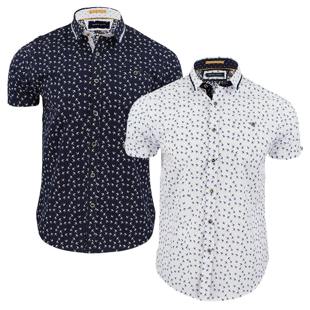 Mens Brave Soul Tyrion Patterned Shirt Cotton Short Sleeved Top