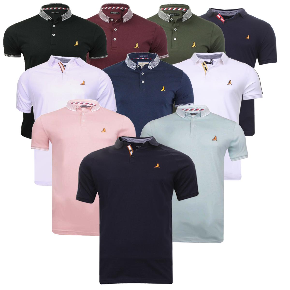 9422bf5b69456 Mens Polo Shirt Short Sleeve Cotton Sports Golf Casual Top Brave Soul Plain