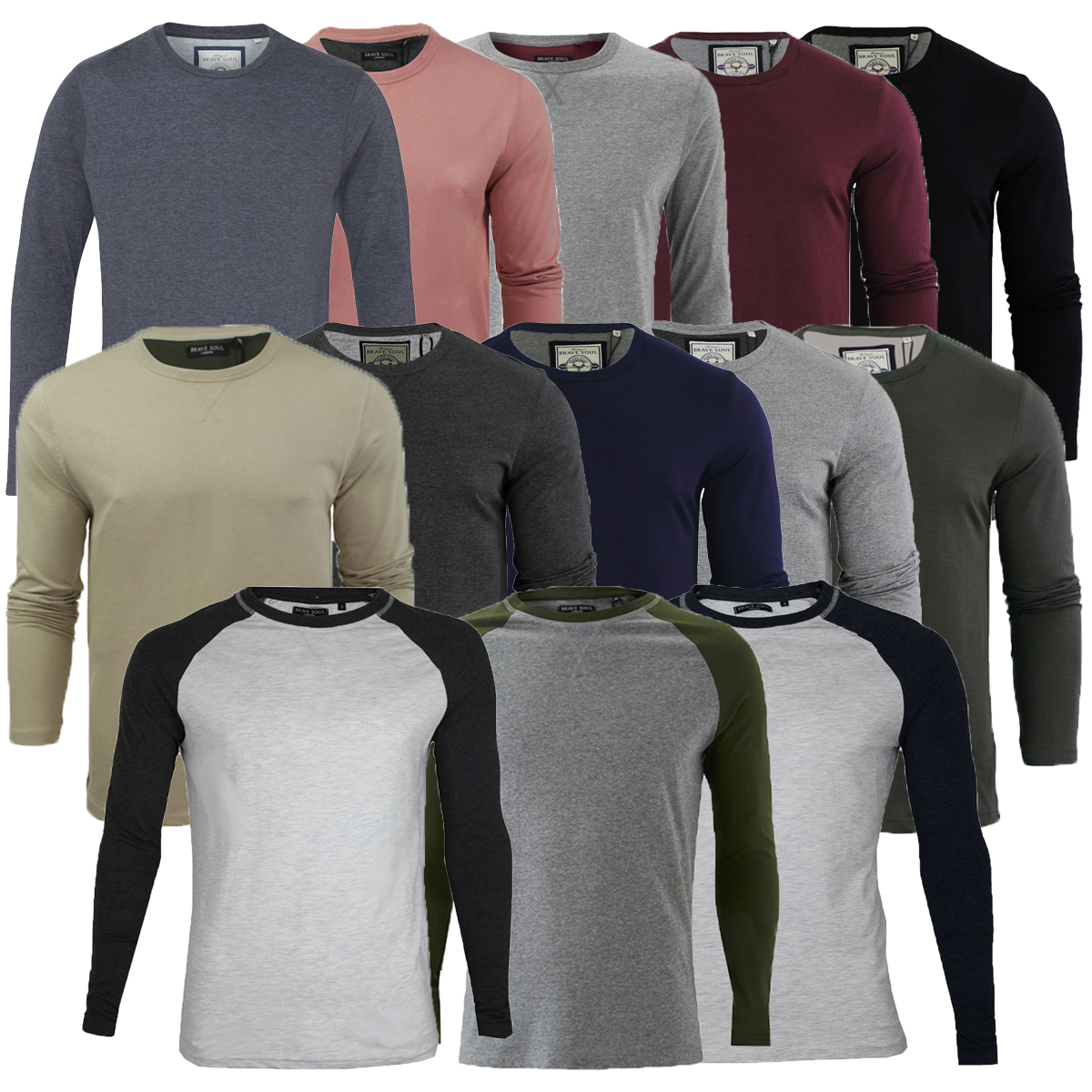 Mens Brave Soul Osbourne & Prague Long Sleeve Top T-shirt