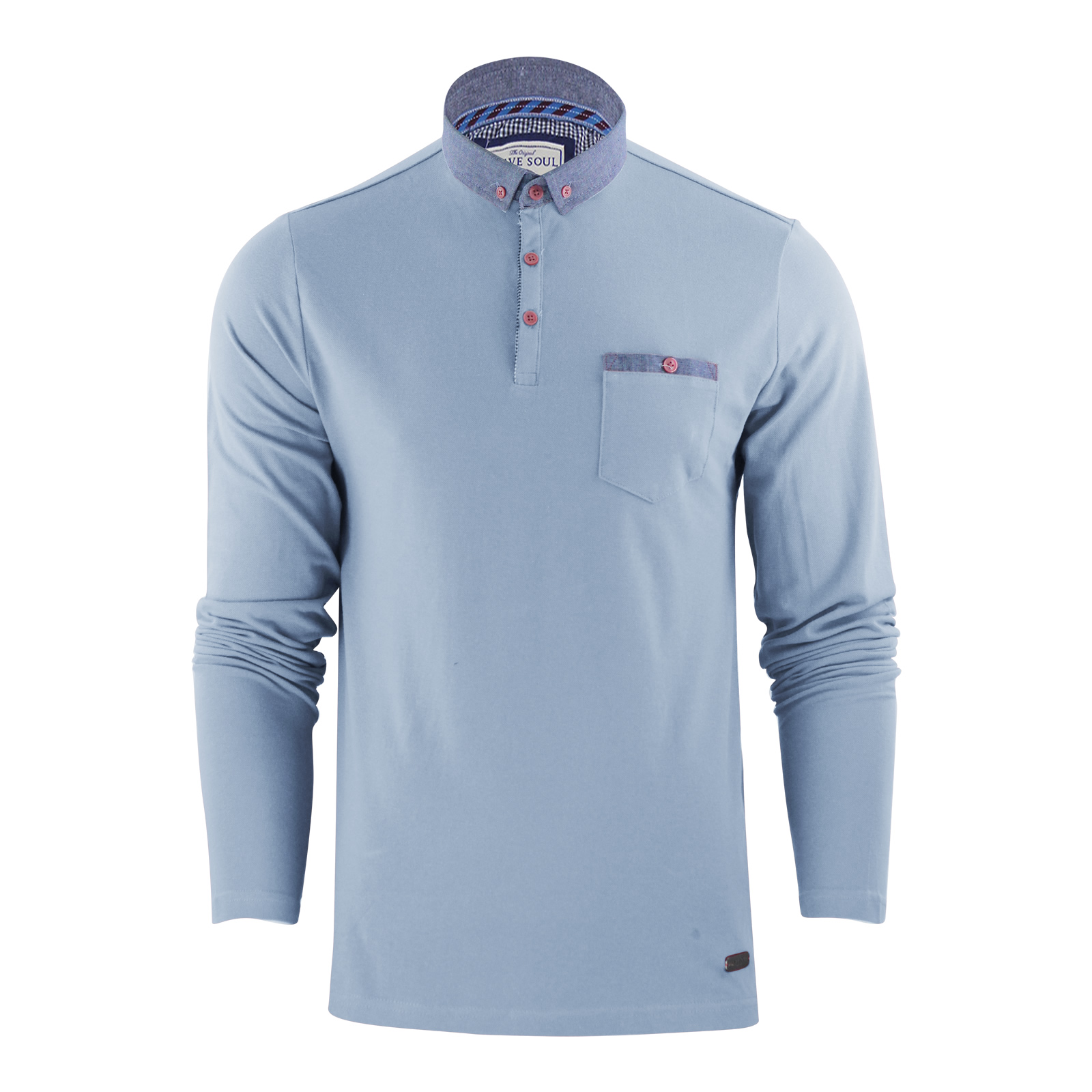Sentinel Mens Brave Soul Hera Cotton Polo T Shirt Long Sleeve Pique Casual  Golf Top
