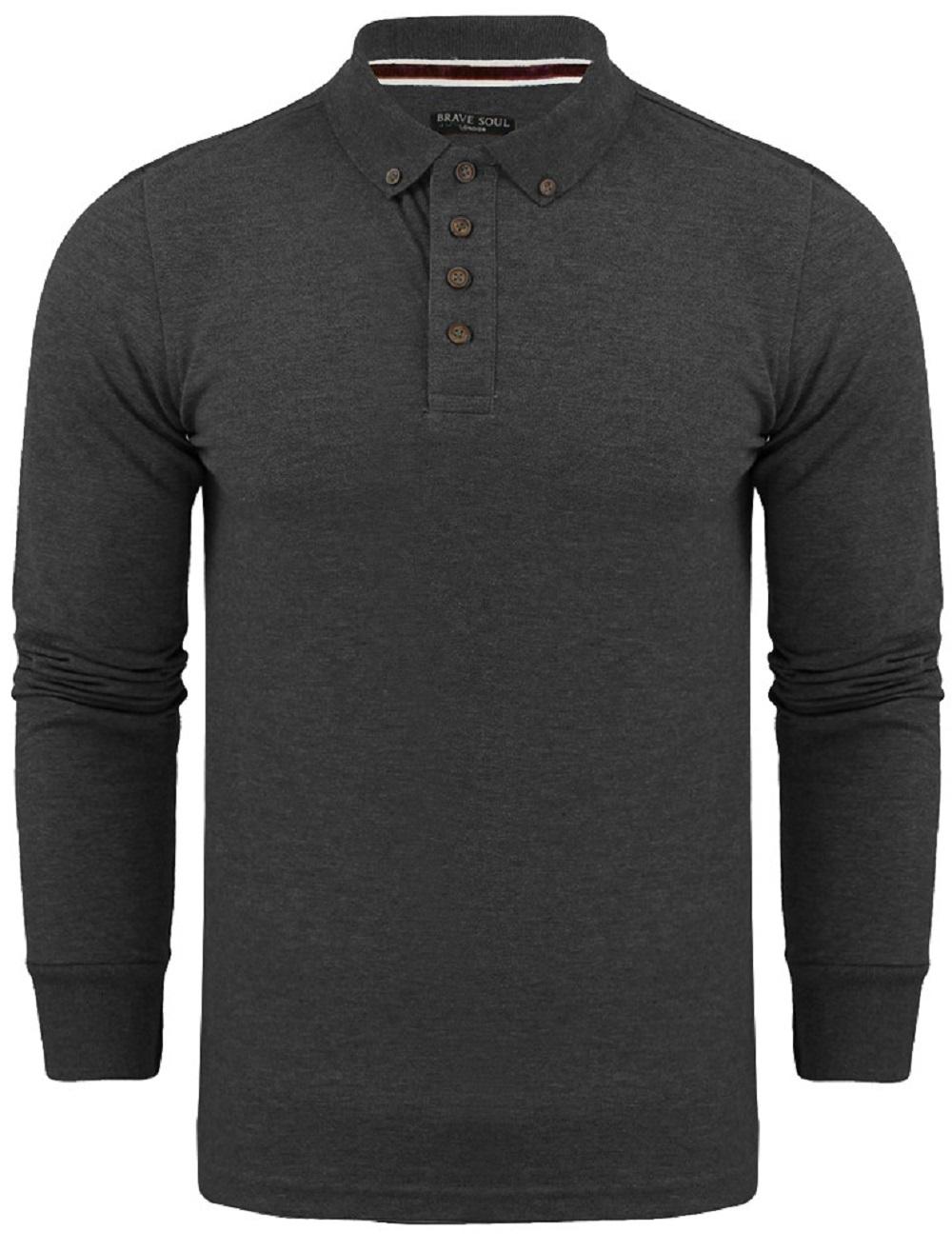 Mens brave soul long sleeve cotton polo t shirt pique for Mens long sleeve casual cotton shirts