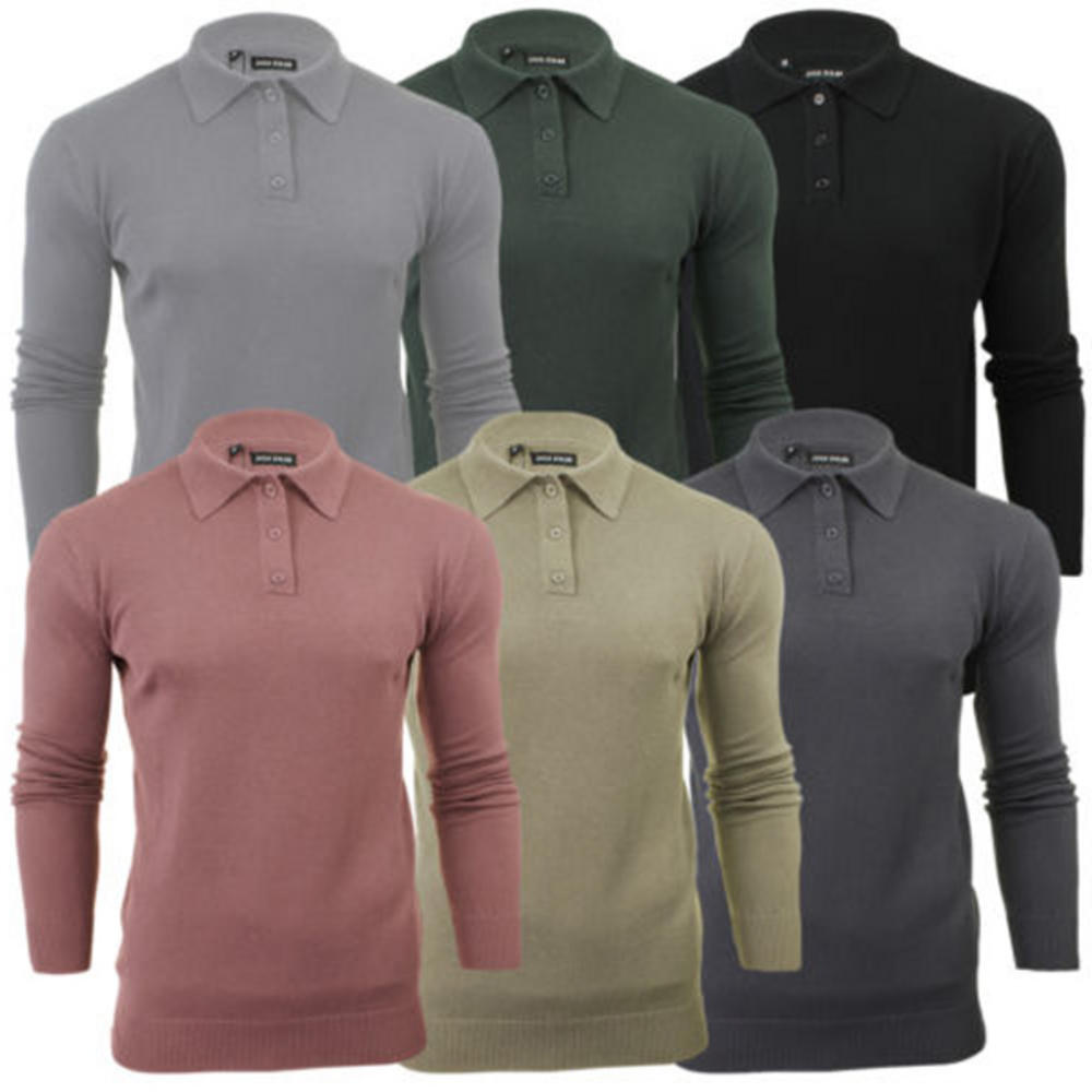 4a945723 Mens Brave Soul Long Sleeve Polo Placket Knitted Polo Shirt Collared Jumper  Top