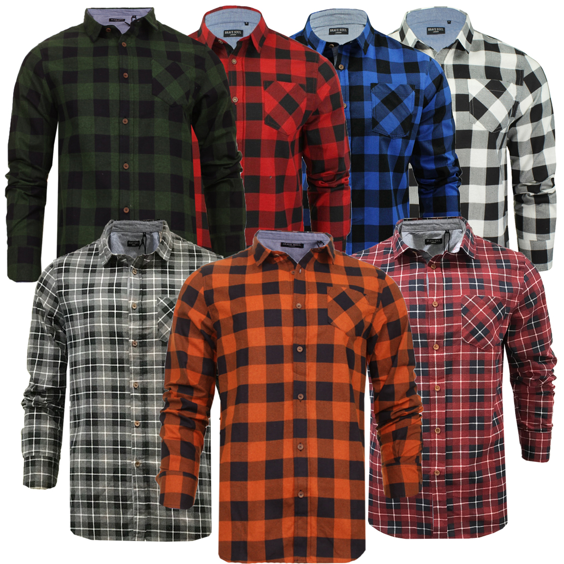 ad7f6920 Mens & Boys Check Shirt By Brave Soul Flannel Brushed Cotton Jack Casual  Shirt
